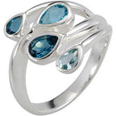 Genuine Sky Blue Topaz, London Blue Topaz & Swiss Blue Topaz Ring