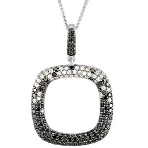 Black & White Diamond Geometric Necklace