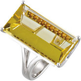 Genuine Lime Quartz & Citrine Ring
