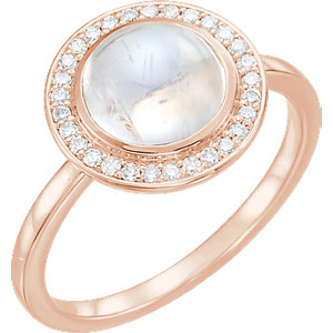 14kt Rose Rainbow Moonstone & 1/8 CTW Diamond Ring