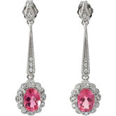 Genuine Pink Tourmaline & Diamond Earrings