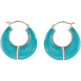 Genuine Chinese Turquoise Hoop Earrings