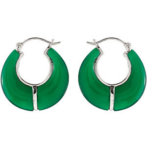 Dyed Green Agate Hoop<br> Earrings