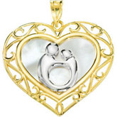 Heart Shaped Mother & Child® Pendant with Rhodium Plating