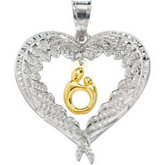 Heart Shaped Mother & Child® Pendant with Angel Wings