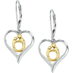 Heart Shaped Mother and Child Earrings