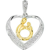 Heart Shaped Mother & Child® Pendant with 18kt Yellow Plating