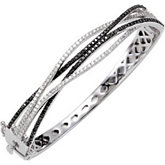 2 ct tw Black & White Diamond Bangle Bracelet