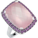 Genuine Rose Quartz & Amethyst Ring