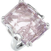 Genuine Rose De France Quartz & Diamond Ring