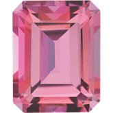 Emerald/Octagon Genuine Pink Topaz