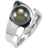 Tahitian Cultured Pearl Open Shank Ring