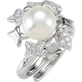 Freshwater Cultured Pearl & Diamond Hinged Two Finger Ring