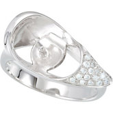 1/10 ct tw Diamond Ring for Pearl