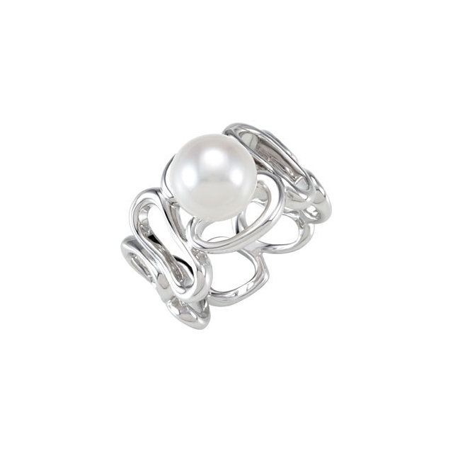 Sterling Silver Solitaire Pearl Ring