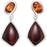 Genuine Red Tiger Eye & Madeira Citrine Earrings