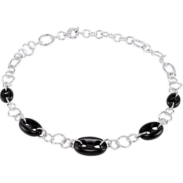 Genuine Onyx Marine Link Necklace