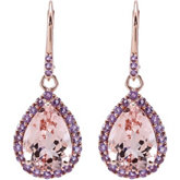 Genuine Morganite & Amethyst Lever Back Earrings