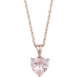 Morganite Heart Pendant or Necklace