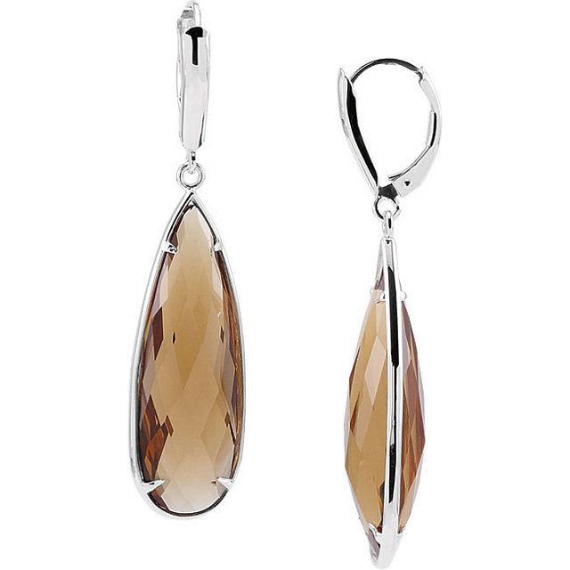 Quartz Lever Back Earrings