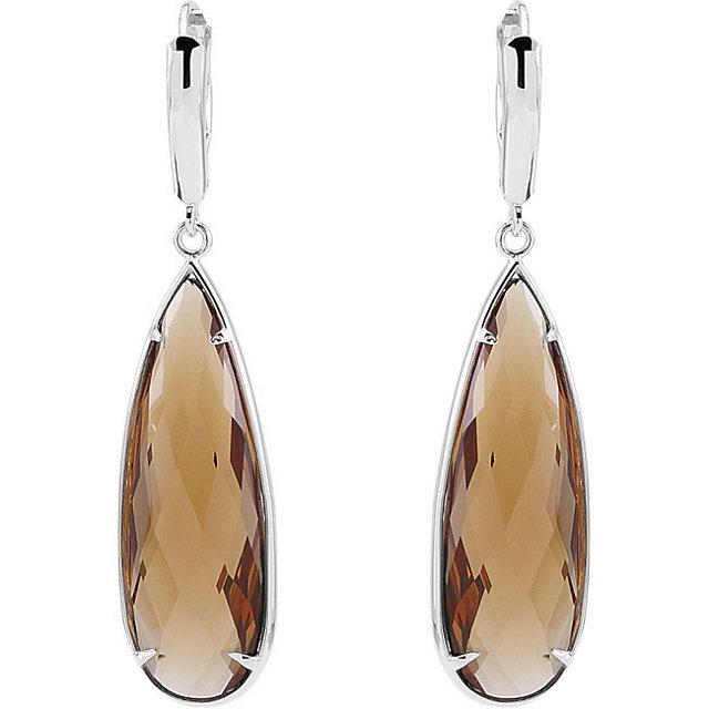 Quartz Lever Back Earrings