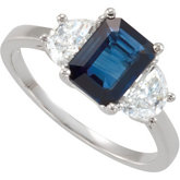 Genuine Blue Sapphire & Half Moon Diamond Ring