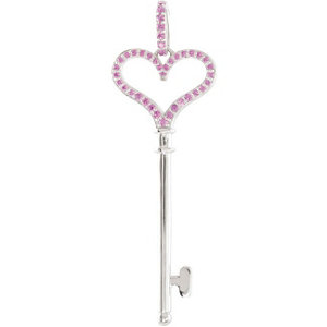 Pink Sapphire Heart Key Pendant or Necklace