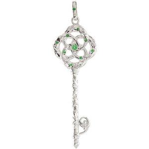 Tsavorite Garnet Vine Key Pendant or 18