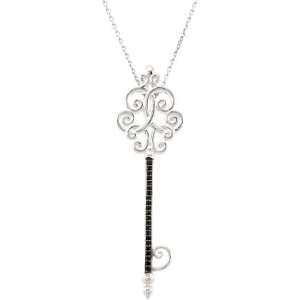 Black Spinel Scroll Key Pendant or Necklace