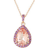 Genuine Morganite & Amethyst Pendant