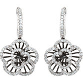 1/2 ct tw Diamond Flower Earrings with Black Rhodium Plating
