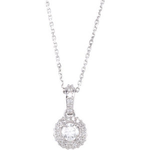 "14K White 3/8 CTW Diamond 18"" Necklace"
