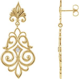 14kt Yellow . 6 ATW Diamond Decorative Dangle Earrings