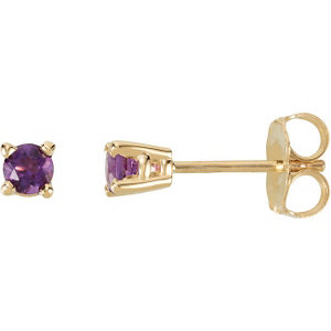 14kt Yellow Amm Round Amethyst Friction Post Stud Earrings