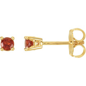 14kt Yellow Amm Round Mozambique Garnet Friction Post Stud Earrings
