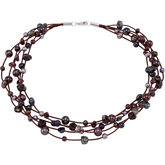 Freshwater Cultured Multi Color Pearl & Genuine Smoky Quartz Necklace