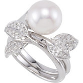1/3 ct tw Freshwater Cultured Pearl & Diamond Hinged Two Finger Ring