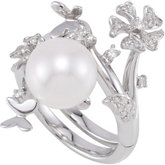Freshwater Cultured Pearl & Diamond Hinged Ring