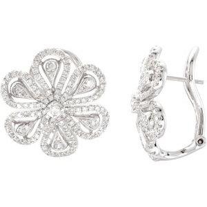 14K White 1 1/4 CTW Diamond Earrings