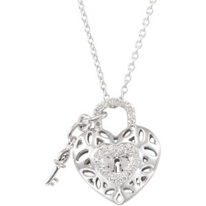 Diamond Heart Lock Necklace