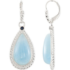 Milky Aquamarine & Blue Sapphire Lever Back Earrings