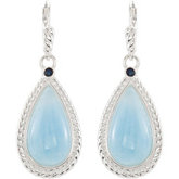 Genuine Milky Aquamarine & Blue Sapphire Lever Back Earrings