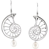 Freshwater Cultured Pearl Interchangeable Seashell Earrings