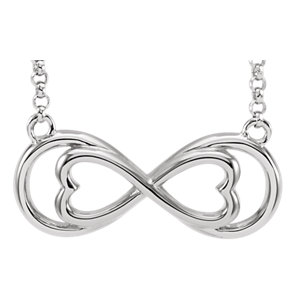Sterling Silver Love For Infinity Horizontal Necklace