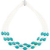 Freshwater Cultured Pearl & Genuine Turquoise Necklace
