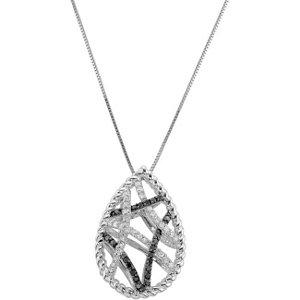 Black & White Diamond Necklace with Black Rhodium Plating