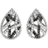 Black & White Diamond Earrings with Black Rhodium Plating