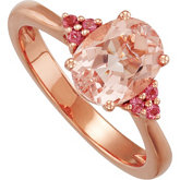 Genuine Morganite & Pink Tourmaline Ring