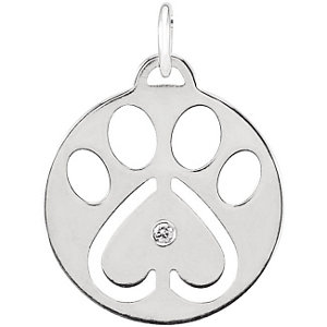 14K White .02 CTW Diamond Dog Paw Charm