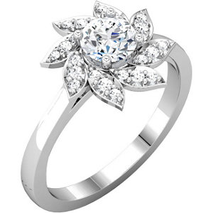 Aontinuum Silver Aubic Zirconia & 1/6 ATW Diamond Engagement Ring